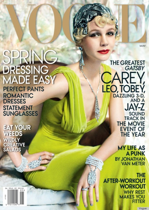Carey Mulligan in 'Great Gatsby' mode on the May 2013 cover of Vogue
